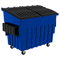 Toter FL030-U0BLU 3 Cubic Yard Blue Front End Loading Mobile Trash Container / Dumpster (1500 lb. Capacity)