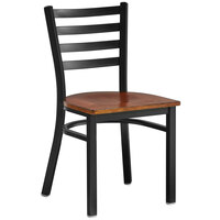 Lancaster Table & Seating Black Finish Wooden Ladder Back Cafe Chair with Antique Walnut Wood Seat