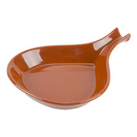 CAC FP-12-BWN Festiware Fry Pan Plate 9 1/4 inch x 7 inch - Brown - 24/Case