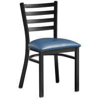 Lancaster Table & Seating Black Finish Wooden Ladder Back Cafe Chair with Navy Blue Padded Seat