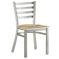 Lancaster Table & Seating Clear Coat Frame Ladder Back Cafe Chair with Driftwood Seat