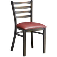 Lancaster Table & Seating Distressed Copper Frame Ladder Back Cafe Chair with Burgundy Padded Seat