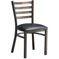 Lancaster Table & Seating Distressed Copper Frame Ladder Back Cafe Chair with Black Padded Seat