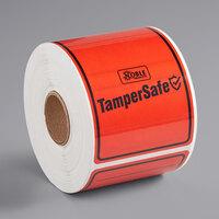 TamperSafe 2 1/2 inch x 6 inch Red Plastic Tamper-Evident Label - 250/Roll