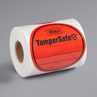 TamperSafe 3 inch Round Red Plastic Tamper-Evident Label - 250/Roll