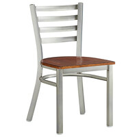 Lancaster Table & Seating Clear Coat Frame Ladder Back Cafe Chair with Antique Walnut Seat