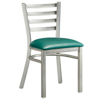 Lancaster Table & Seating Clear Frame Ladder Back Cafe Chair with Green Padded Seat