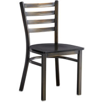 Lancaster Table & Seating Distressed Copper Frame Ladder Back Cafe Chair with Black Wood Seat