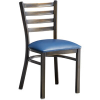 Lancaster Table & Seating Distressed Copper Frame Ladder Back Cafe Chair with Navy Blue Padded Seat