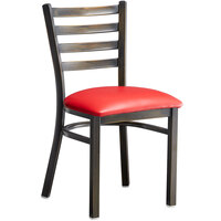 Lancaster Table & Seating Distressed Copper Frame Ladder Back Cafe Chair with Red Padded Seat