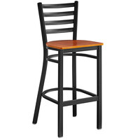 Lancaster Table & Seating Black Frame Ladder Back Bar Height Chair with Cherry Wood Seat