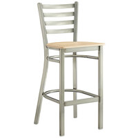 Lancaster Table & Seating Clear Coat Frame Ladder Back Bar Height Chair with Natural Wood Seat