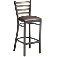 Lancaster Table & Seating Distressed Copper Frame Ladder Back Bar Height Chair with Dark Brown Padded Seat