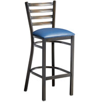 Lancaster Table & Seating Distressed Copper Frame Ladder Back Bar Height Chair with Navy Blue Padded Seat