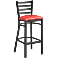 Lancaster Table & Seating Black Frame Ladder Back Bar Height Chair with Red Padded Seat