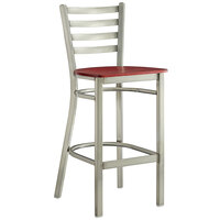 Lancaster Table & Seating Clear Coat Frame Ladder Back Bar Height Chair with Mahogany Wood Seat