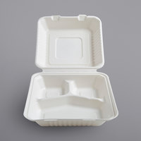 Fineline 42SHD8S3 Conserveware 8 inch x 8 inch x 3 1/8 inch Bagasse 3 Compartment Deep Take-Out Container - 200/Case