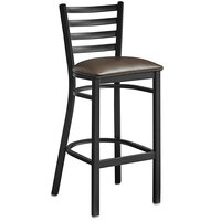 Lancaster Table & Seating Black Frame Ladder Back Bar Height Chair with Dark Brown Padded Seat