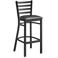 Lancaster Table & Seating Black Frame Ladder Back Bar Height Chair with Black Padded Seat