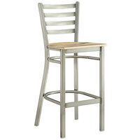 Lancaster Table & Seating Clear Coat Frame Ladder Back Bar Height Chair with Driftwood Seat