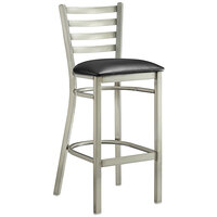 Lancaster Table & Seating Clear Frame Ladder Back Bar Height Chair with Black Padded Seat