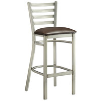 Lancaster Table & Seating Clear Frame Ladder Back Bar Height Chair with Dark Brown Padded Seat