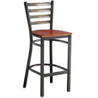Lancaster Table & Seating Distressed Copper Frame Ladder Back Bar Height Chair with Antique Walnut Wood Seat