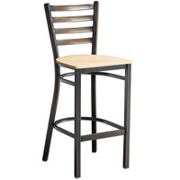 Lancaster Table & Seating Distressed Copper Frame Ladder Back Bar Height Chair with Natural Wood Seat