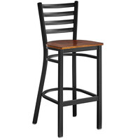Lancaster Table & Seating Black Frame Ladder Back Bar Height Chair with Antique Walnut Wood Seat