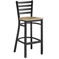 Lancaster Table & Seating Black Frame Ladder Back Bar Height Chair with Driftwood Seat