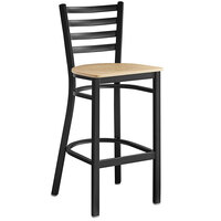 Lancaster Table & Seating Black Frame Ladder Back Bar Height Chair with Natural Wood Seat