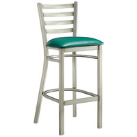Lancaster Table & Seating Clear Frame Ladder Back Bar Height Chair with Green Padded Seat