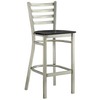 Lancaster Table & Seating Clear Coat Frame Ladder Back Bar Height Chair with Black Wood Seat