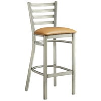 Lancaster Table & Seating Clear Frame Ladder Back Bar Height Chair with Light Brown Padded Seat
