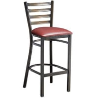 Lancaster Table & Seating Distressed Copper Frame Ladder Back Bar Height Chair with Burgundy Padded Seat