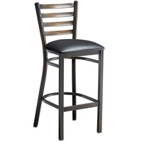 Lancaster Table & Seating Distressed Copper Frame Ladder Back Bar Height Chair with Black Padded Seat