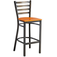 Lancaster Table & Seating Distressed Copper Frame Ladder Back Bar Height Chair with Cherry Wood Seat