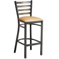 Lancaster Table & Seating Distressed Copper Frame Ladder Back Bar Height Chair with Light Brown Padded Seat