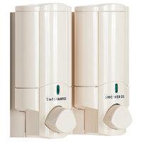 Dispenser Amenities 37270-PAYA Aviva 20 oz. Solid Vanilla 2-Chamber Wall Mounted Locking Shower Dispenser with Bottles and Paya Logo