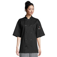 Uncommon Threads South Beach 0415 Black Unisex Customizable Short Sleeve Chef Coat - XL