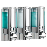 Dispenser Amenities 36344-SPBX Aviva 30 oz. Chrome 3-Chamber Wall Mounted Locking Soap Dispenser with Translucent Bottles and Soapbox Logo