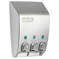 Dispenser Amenities 31334 Classic 43.5 oz. Satin Silver 3-Chamber Wall Mounted Locking Bulk Amenity Dispenser