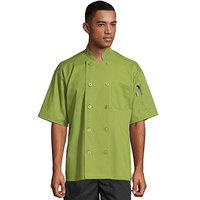 Uncommon Threads South Beach 0415 Avocado Unisex Customizable Short Sleeve Chef Coat - S