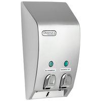 Dispenser Amenities 31234 Classic 29 oz. Satin Silver 2-Chamber Wall Mounted Locking Bulk Amenity Dispenser