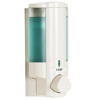 Dispenser Amenities 36170-BKMN Aviva 10 oz. Vanilla Wall Mounted Locking Soap Dispenser with Translucent Bottle and Beekman Logo