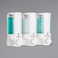 Dispenser Amenities 36350-SPBX Aviva 30 oz. White 3-Chamber Wall Mounted Locking Soap Dispenser with Translucent Bottles and Soapbox Logo