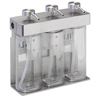 Dispenser Amenities 39334-O3-BKMN SOLera 36 oz. Stainless Steel Wall Mounted Adjustable 3-Chamber Locking Shower Dispenser with Oval Bottles and Beekman Label