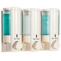 Dispenser Amenities 36370-BKMN Aviva 30 oz. Vanilla 3-Chamber Wall Mounted Locking Soap Dispenser with Translucent Bottles and Beekman Logo