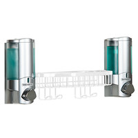 Dispenser Amenities 36254-14BSK-BKMN Aviva 20 oz. Satin Silver 2-Chamber Wall Mounted Locking Soap Dispenser with Satin Silver Bottles, White Basket, and Beekman Logo
