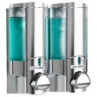 Dispenser Amenities 36244-SPBX Aviva 20 oz. Chrome 2-Chamber Wall Mounted Locking Soap Dispenser with Translucent Bottles and Soapbox Logo